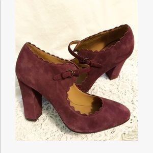 ❤️AERIN 8 suede Mary Jane scallop heels
